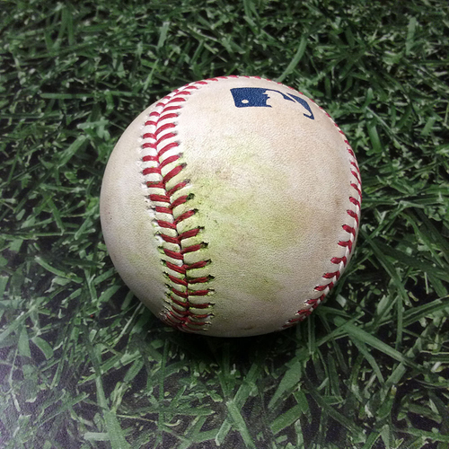 Photo of Game-Used Baseball COL@MIL 04/05/17 - Tyler Chatwood - Orlando Arcia: Triple