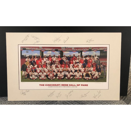 Photo of 12-Signature Reds Hall of Fame Inductee Purdom Matted Print