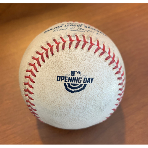 Photo of Game-Used Baseball - 2020 Opening Day - Homer Bailey - Harrison Bader - Pop out to 1st - Four-Seam Fastball - Top 5 - 7/28/2020