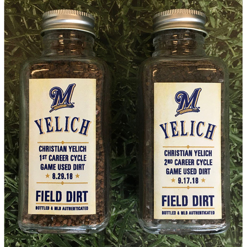Photo of Game-Used Bottled Dirt - Christian Yelich Bi-Cycle Games (08/29/18 at CIN; 09/17/18 at MIL)