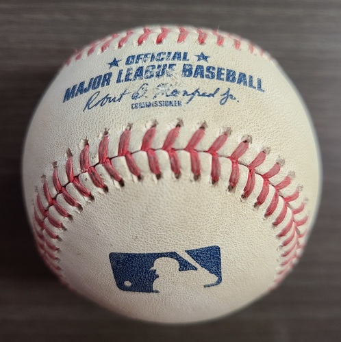 Photo of Authenticated Game Used Baseball: Foul by Cavan Biggio against Masahiro Tanaka (Sep 23, 2020 vs NYY). Bottom 1. Game played in Buffalo.