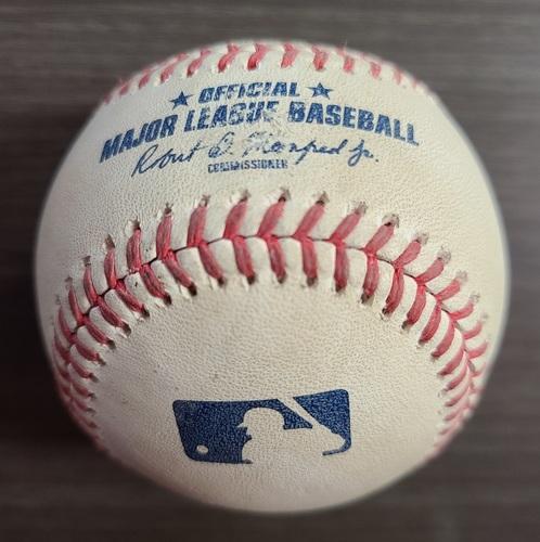Photo of Authenticated Game Used Baseball: Foul by Cavan Biggio against Masahiro Tanaka (Sep 23, 2020 vs NYY). Bottom 1. Game played in Buffalo.
