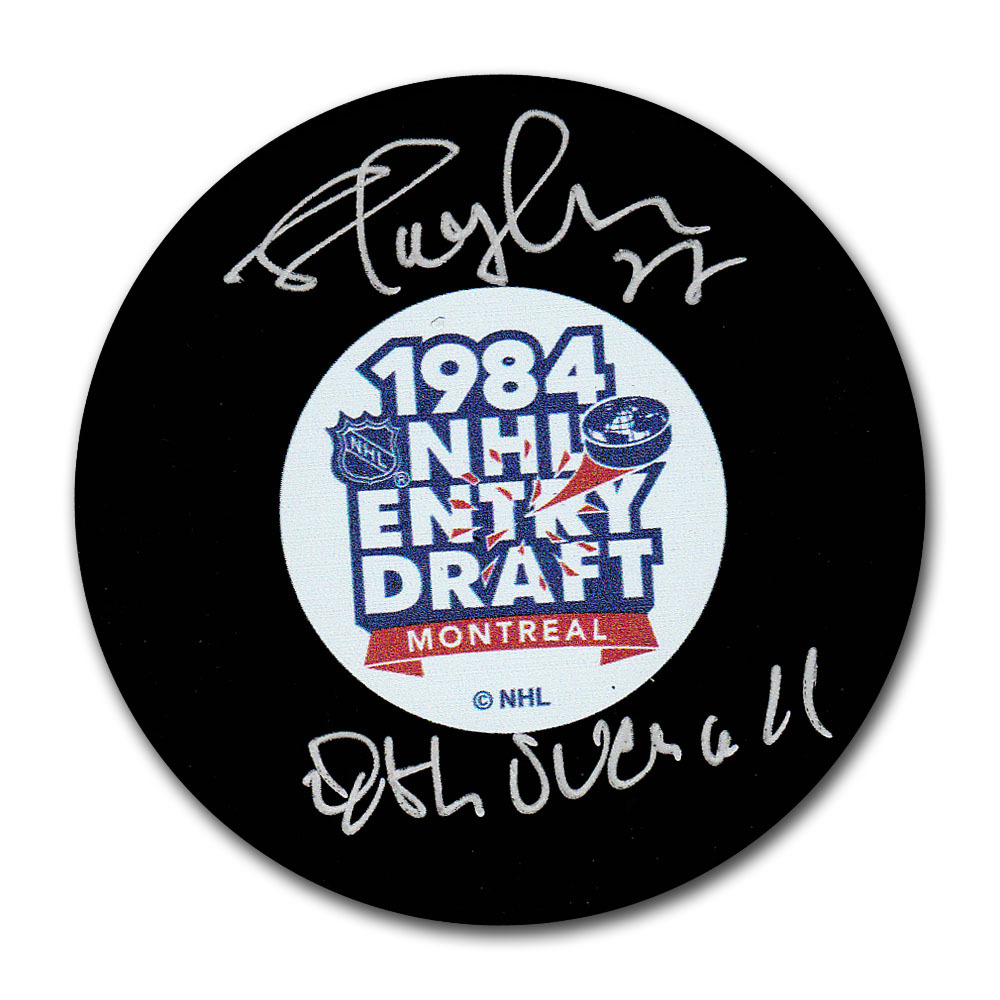 Shayne Corson Autographed 1984 NHL Entry Draft Puck w/8th OVERALL Inscription