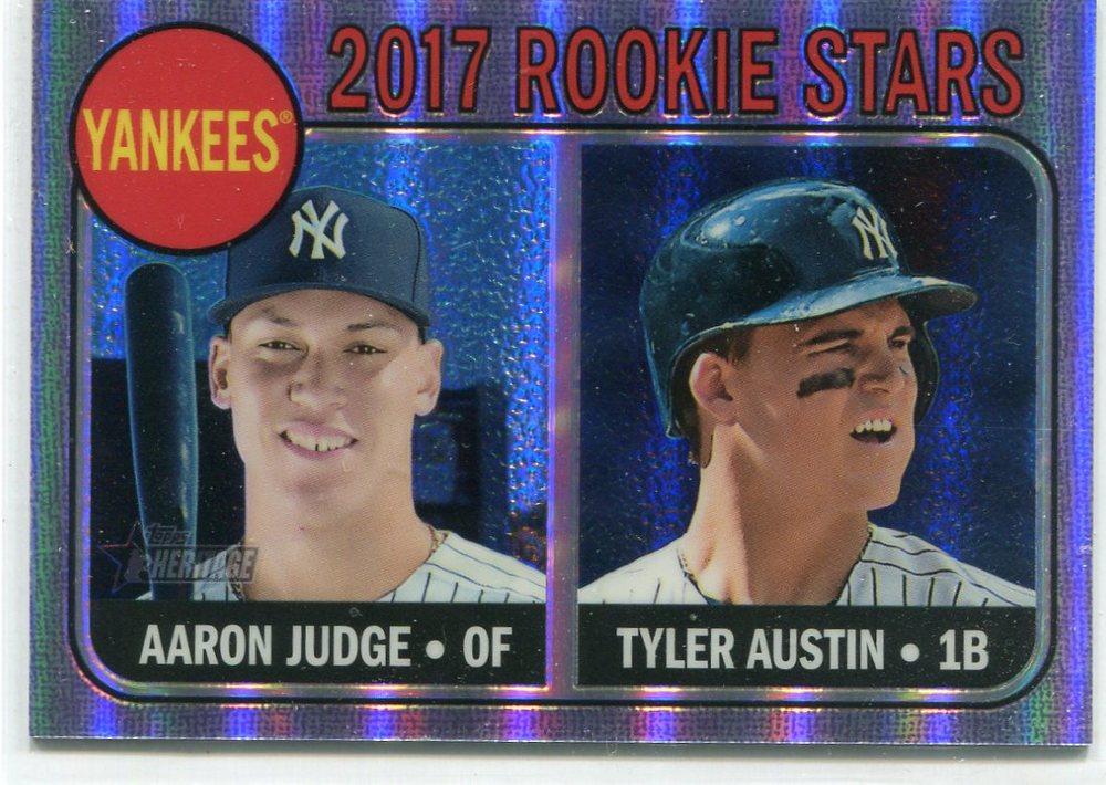 2017 Topps Heritage Chrome Purple Refractors #214 Aaron Judge/Tyler Austin