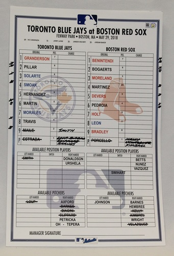 Photo of Authenticated Game Used Lineup Card - May 29, 2018 vs Boston Red Sox: All Red Sox starters had at least 1 Hit
