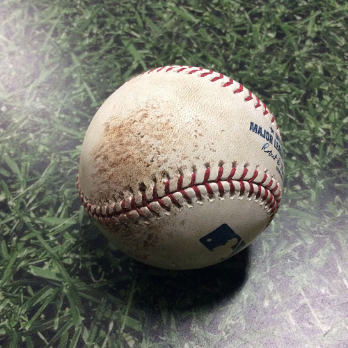 Photo of Game-Used Baseball KC@MIL 06/26/18 - Freddy Peralta - Abraham Almonte: Strikeout (Peralta's Miller Park Debut Game)