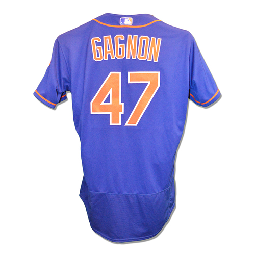 Photo of Drew Gagnon #47 - Game Used Blue Alt. Home Jersey - 1.2 IP, 3 K's - Mets vs. Marlins - 9/28/18