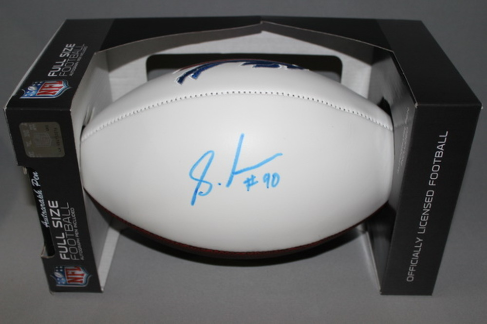 BILLS - SHAQ LAWSON SIGNED WHITE PANEL FOOTBALL W/ BUFFALO BILLS STITCHED LOGO