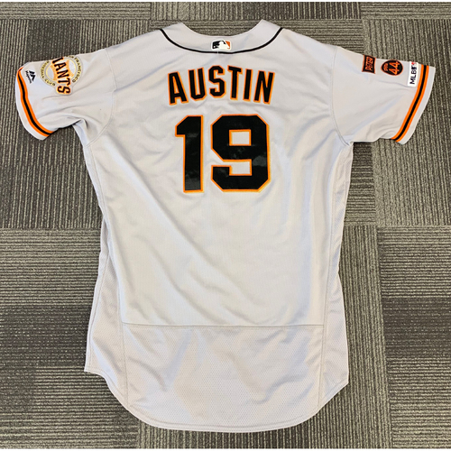Photo of 2019 Game Used Road Jersey used by #19 Tyler Austin on 5/9 @ Colorado Rockies - 2 Home Runs & 6 RBI's - Size 48