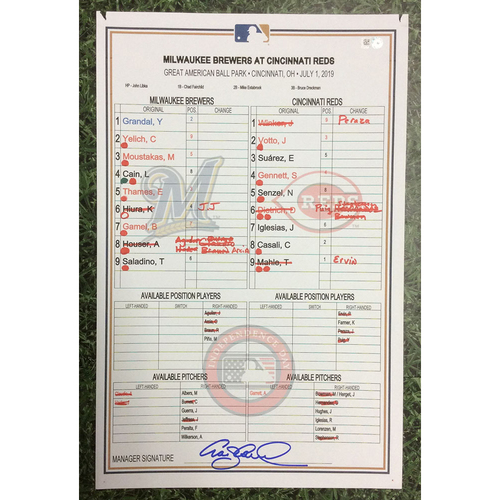 Photo of MIL@CIN 07/01/19 Game-Used Lineup Card - Yelich HR #30