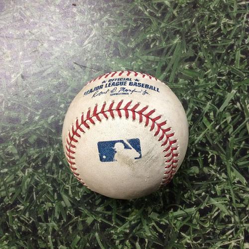 Photo of Game-Used Baseball CIN@MIL 06/23/19 - Anthony DeSclafani - Yasmani Grandal: Single