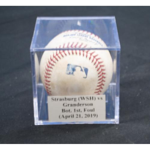 Photo of Game-Used Baseball: Stephen Strasburg (WSH) vs Curtis Granderson, Bot. 1st, Foul (April 21, 2019)