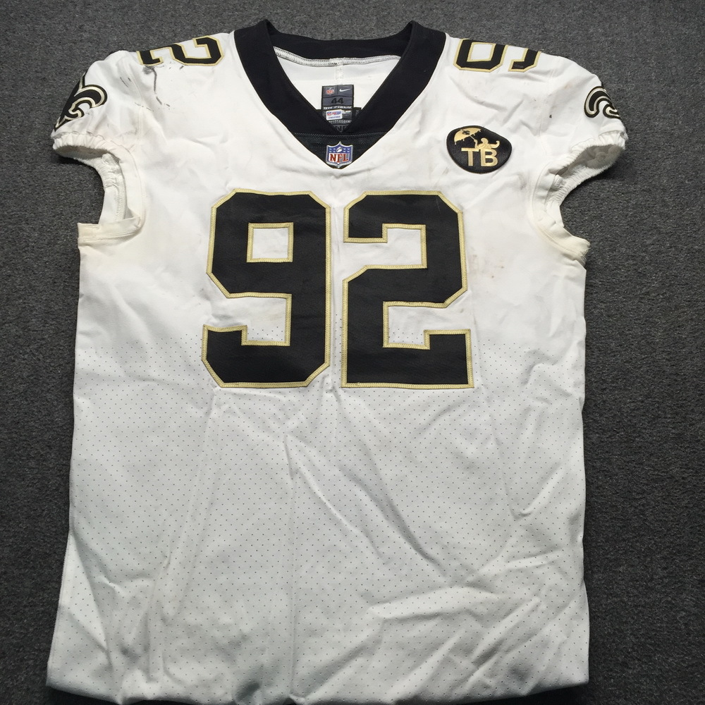 Crucial Catch - Saints Marcus Davenport Game Used Jersey 10.21.18 W/Tom Benson Memorial Patch Size 44
