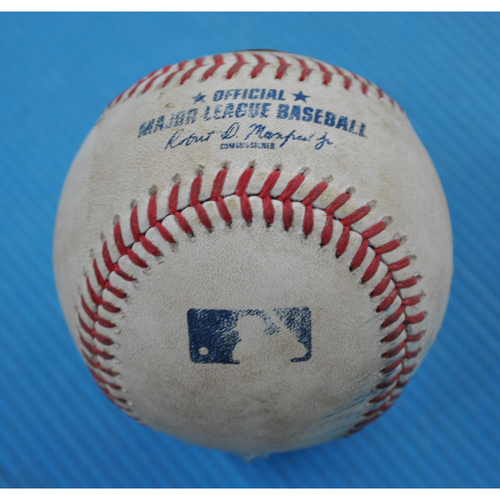 Photo of Game-Used Baseball - 2020 NLCS - Los Angeles Dodgers vs. Atlanta Braves - Game 4 - Pitcher: Clayton Kershaw, Batter: Freddie Freeman (Ball in Dirt) - Bot 6