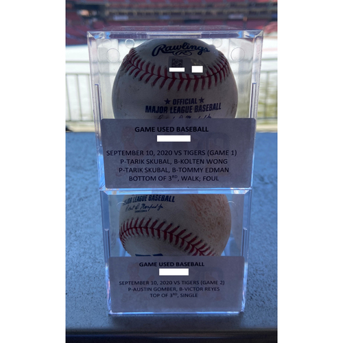 Photo of Cardinals Authentics: Game-Used Baseballs fom September 10, 2020 Games 1 and 2 of Double Hitter.