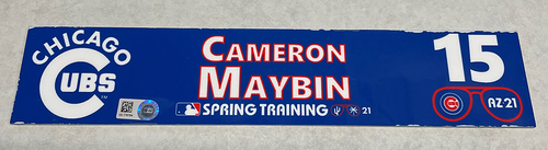 Photo of Cameron Maybin 2021 Spring Training Locker Nameplate