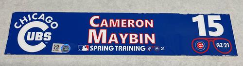 Photo of Cameron Maybin 2021 Spring Training Locker Nameplate