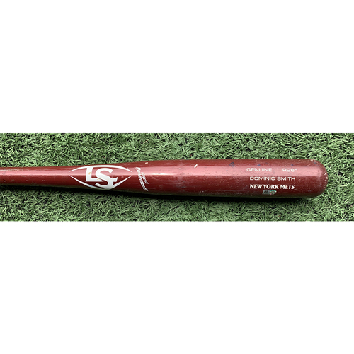 Photo of Dominic Smith #2 - Game Used Cracked Bat - Maroon Louisville Slugger Model - Josh Fleming to Dominic Smith - Line Out - 5th Inning - Mets vs. Rays - 5/16/21