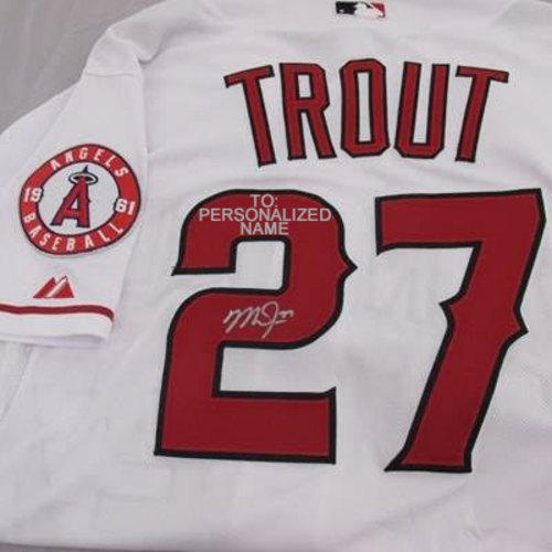 Photo of *PERSONALIZED* Mike Trout Autographed White Authentic Angels Jersey (To: Personalized Name) - Signing Late February, 2018