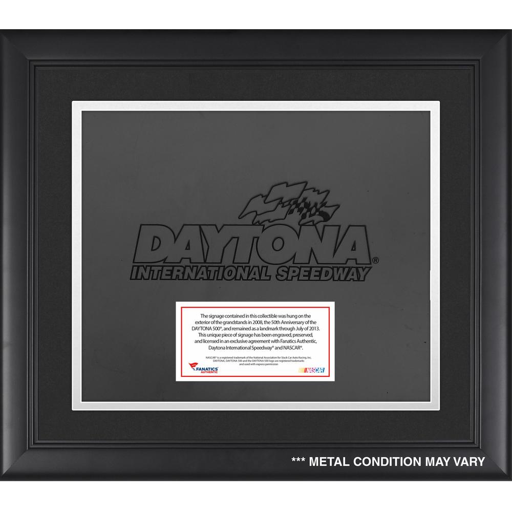 Daytona Speedway Black Background Framed Signage Logo with Plate
