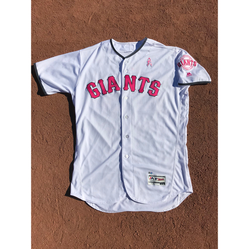 Photo of San Francisco Giants - 2017 Game-Used Jersey - #23 Ron Wotus - Mothers Day (Pink/White) - Worn 5/13/17 & 5/14/17 - Jersey Size 48