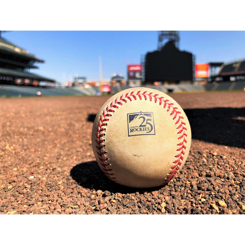 Colorado Rockies Game-Used Baseball - Anderson v. Parra - Groundout, Kinsler to Pujols - May 9, 2018