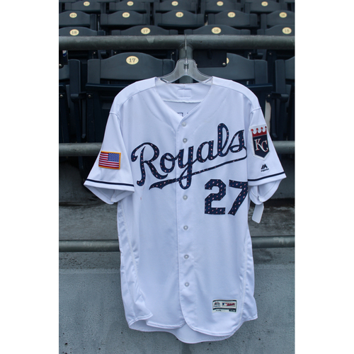 Photo of Game-Used Stars and Stripes Jersey: Adalberto Mondesi (Size 44 - CLE @ KC - 7/4/18)