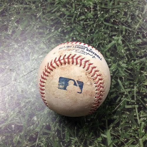 Photo of Game-Used Baseball SD@MIL 09/19/19 - Joey Lucchesi - Manny Pina & Orlando Arcia: Single & Single