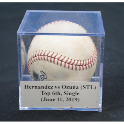 Photo of Game-Used Baseball: Elieser Hernandez vs Marcell Ozuna (STL), Top 6th, Single (June 11, 2019)