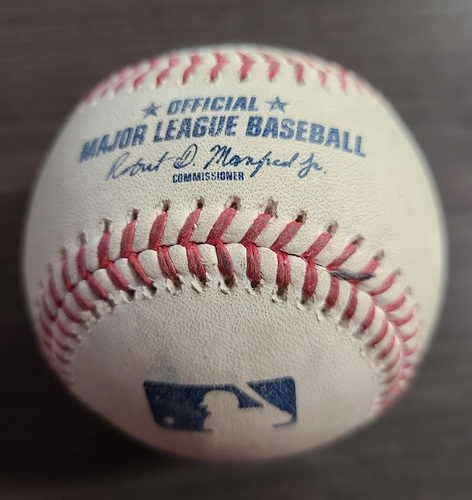 Photo of Authenticated Game Used Baseball: Foul by Bo Bichette against Masahiro Tanaka (Sep 23, 2020 vs NYY). Bottom 1. Game played in Buffalo.