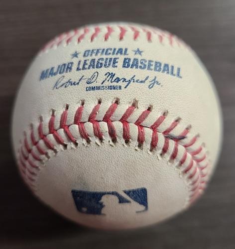 Photo of Authenticated Game Used Baseball: Foul by Bo Bichette against Masahiro Tanaka (Sep 23, 2020 vs NYY). Bottom 1. Game played in Buffalo.