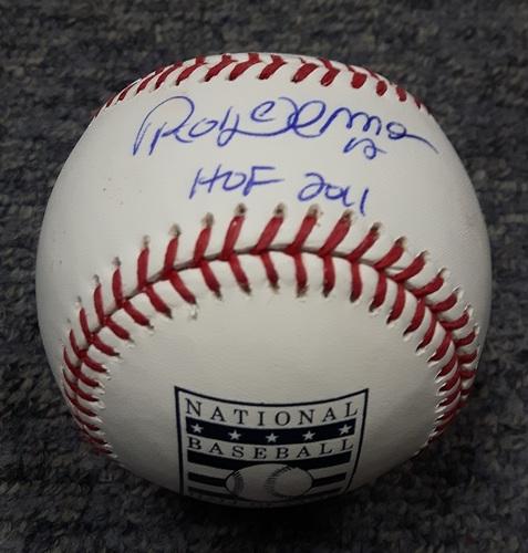 BLUE JAYS AUTHENTICS-Autographed Roberto Alomar Baseball with HOF 2011 Inscription on Hall of Fame Baseball
