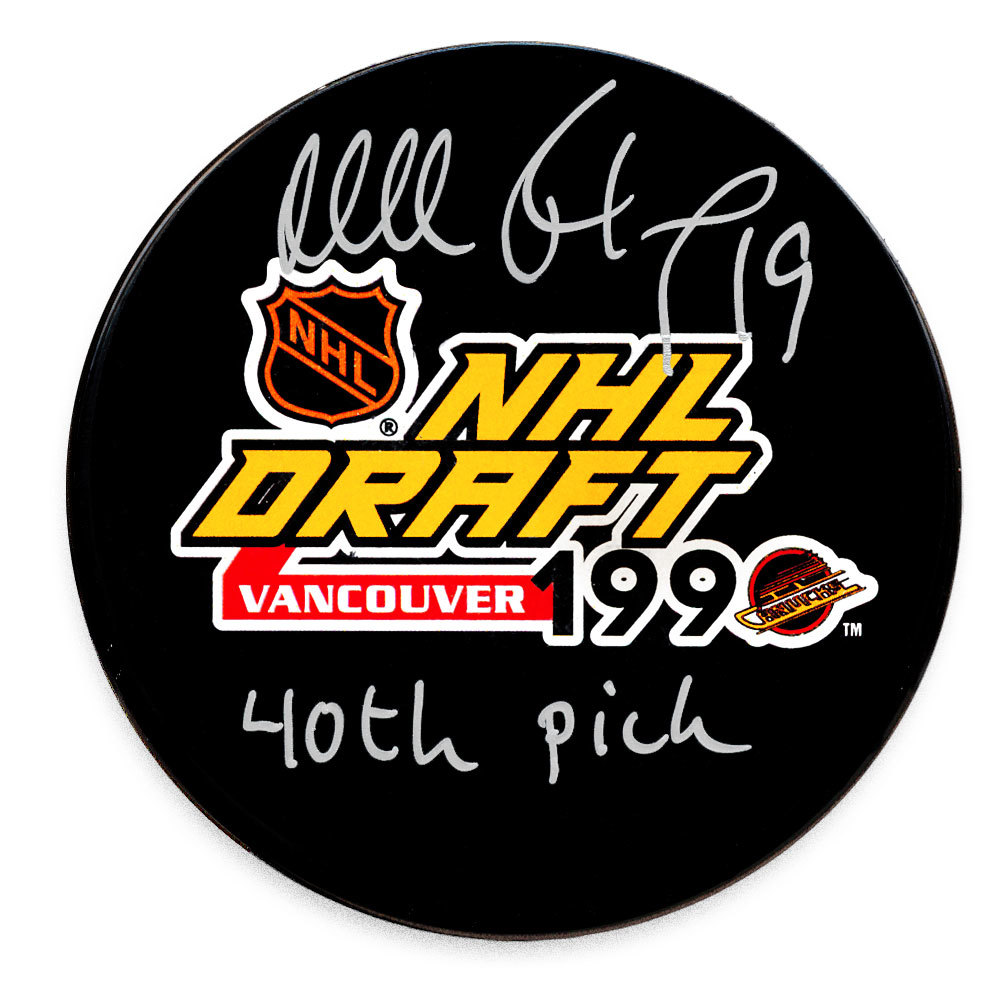Mikael Renberg 1990 NHL Draft Day 40th Pick Autographed Puck Philadelphia Flyers