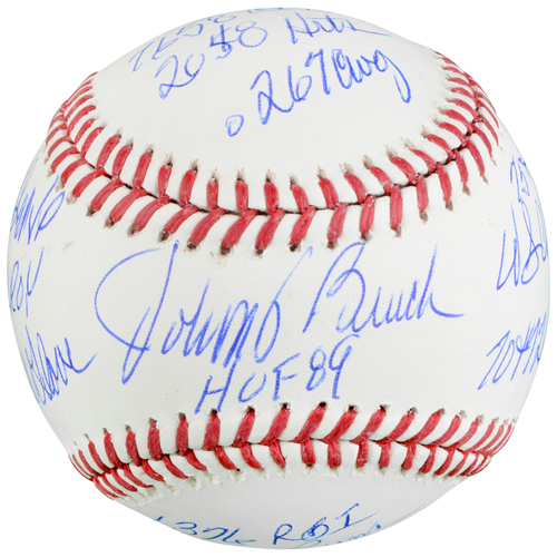Photo of Johnny Bench Cincinnati Reds Autographed Baseball with Multiple Career Stats Inscriptions - L. E. of 12