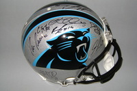 PANTHERS - 2017 MULTI-SIGNED PANTHERS PROLINE HELMET (INCLUDING CAM NEWTON, CHRISTIAN MCAFFREY, GREG OLSEN, THOMAS DAVIS, LUKE KUECHLY, KELVIN BENJAMIN) TOTAL OF 17 SIGNATURES (SLIGHT SMUDGE ON ONE SIGNATURE)