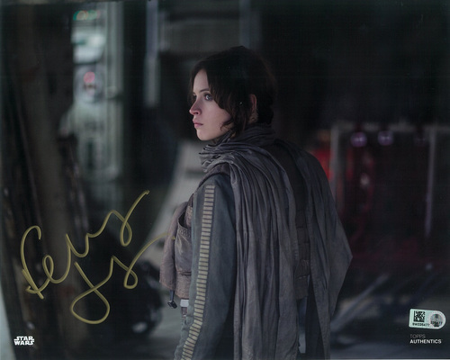 Felicity Jones as Jyn Erso 8x10 Autographed in Gold Ink Photo