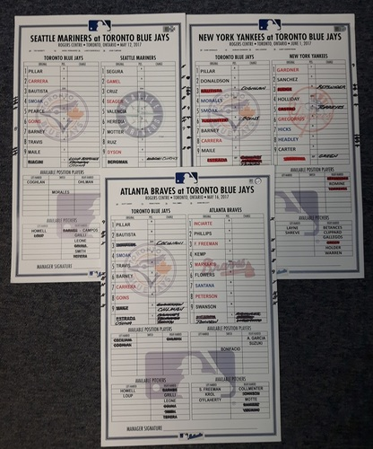 Photo of Authenticated Game Used Lineup Card - One Lineup Card from the 2017 Regular Season