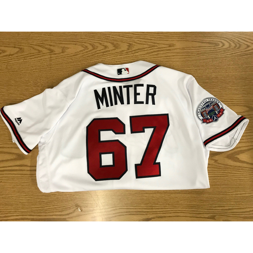 Photo of AJ Minter 2017 Game-Used Home White Jersey - Rookie Season