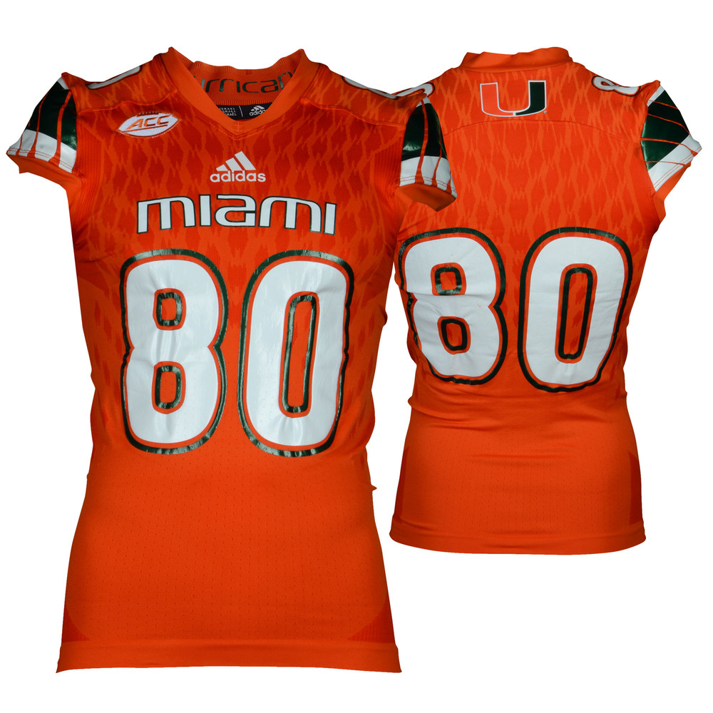Miami Hurricanes Game-Used Orange #80 Adidas Football Jersey Used Between The 2015 and 2016 Seasons - Size Medium