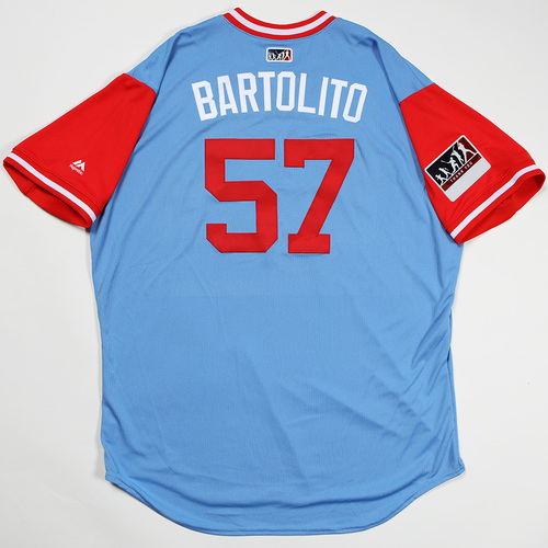 "Photo of Ariel ""Bartolito"" Jurado Texas Rangers Game-Used 2018 Players' Weekend Jersey"