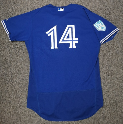 Photo of Authenticated Game Used Spring Training 2019 Jersey - #14 Justin Smoak (Mar 17, 19: 0-for-2 with 1 RBI and 1 Walk. Mar 25, 19: 0-for-2 with 1 Walk). Size 48