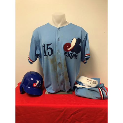 Photo of Matt Adams Expos Gear: Game-Used Jersey, Game-Used Pants, and Game-Used Batting Helmet