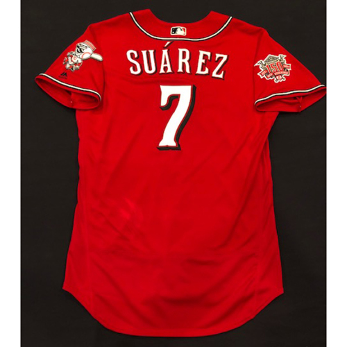 "Photo of Eugenio Suarez -- Game-Used ""Los Rojos"" Jersey -- 42nd HR of 2019 Season (Starting 3B: Went 3-for-5, HR-42, 4 RBI, R) -- D-backs vs. Reds on 9/6/19 -- Jersey Size 46"