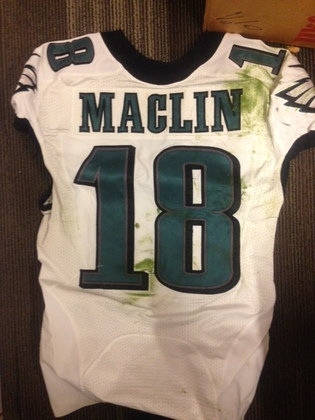 NFL Auction | JEREMY MACLIN GAME WORN EAGLES JERSEY 10/5/2012