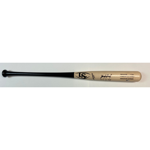 "Photo of Yordan Alvarez Autographed ""2019 AL ROY"" Game Model Louisville Slugger Bat"