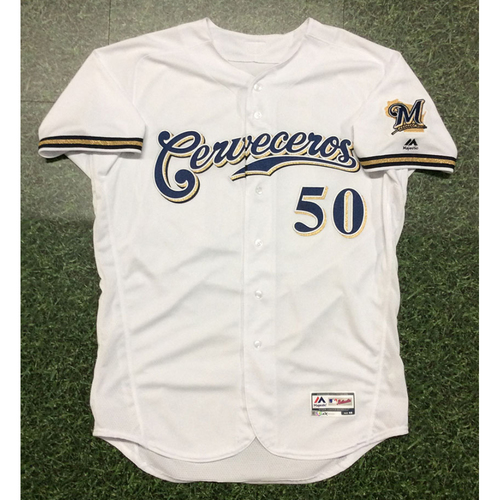 Photo of Ray Black 2019 Game-Used Cerveceros Jersey