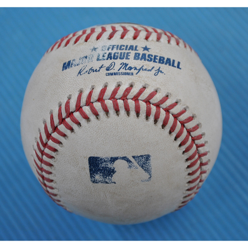 Photo of Game-Used Baseball - 2020 NLCS - Los Angeles Dodgers vs. Atlanta Braves - Game 5 - Pitcher: Dustin May, Batter: Cristian Pache (Single to CF) - Bot 2