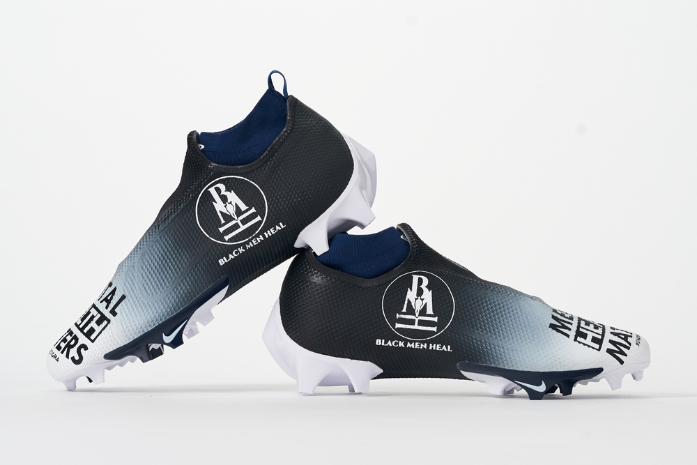 My Cause My Cleats - Seahawks Quinton Dunbar custom cleats - supporting Black Men Heal