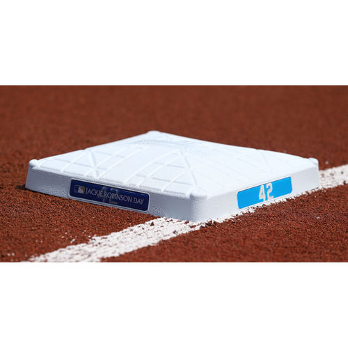 Photo of Game-Used Jackie Robinson Day Base - Seattle Mariners at Baltimore Orioles - 2nd Base Innings 1-7 (4/15/2021)