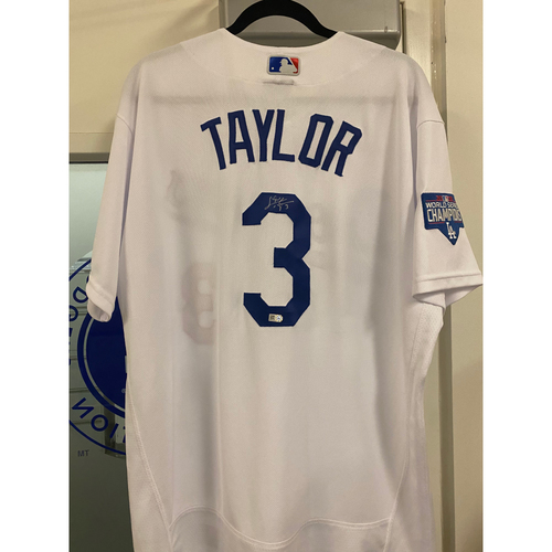 Photo of Chris Taylor Authentic Autographed Los Angeles Dodgers Jersey